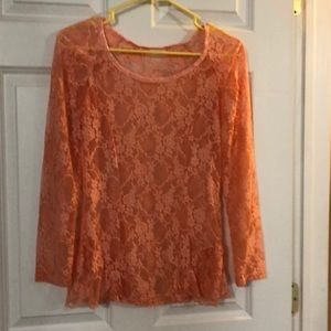 Tops - Peach flower lace shirt